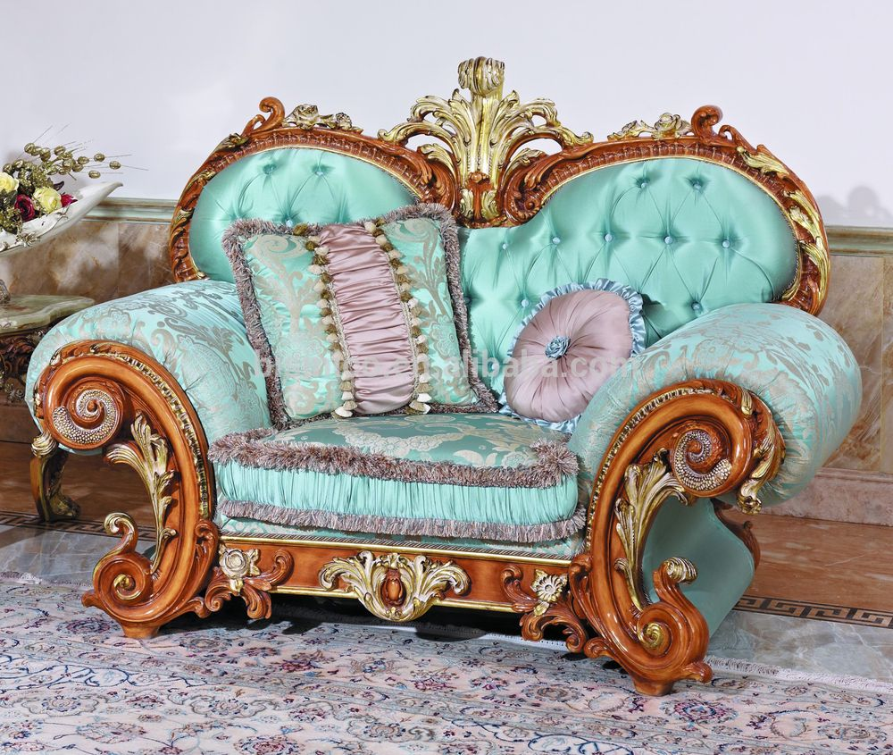 Luxury French Baroque Style Living Room Blue Sofa Set