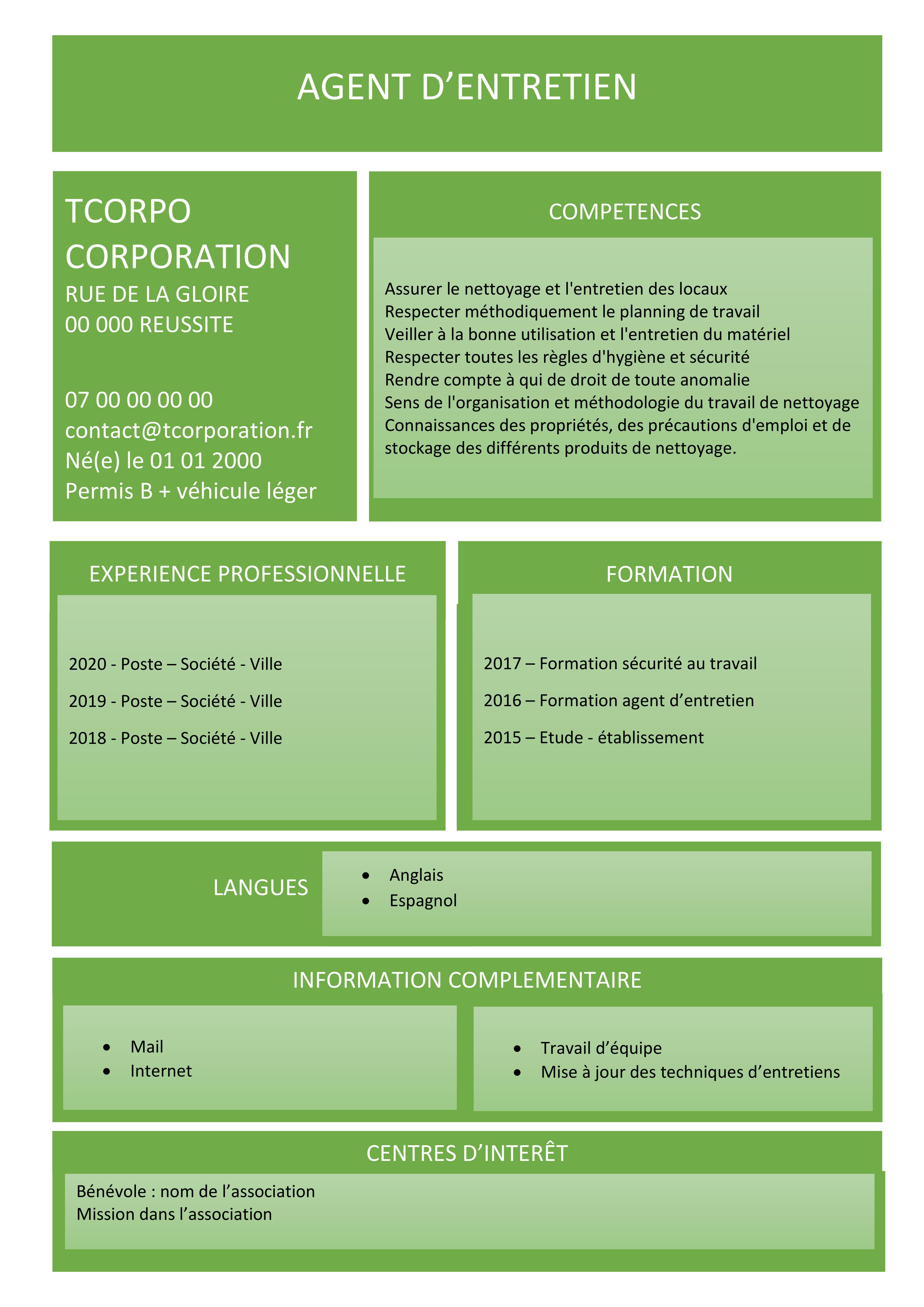 Agent D Entretien Cv Experiences Professionnelles Formations Competences Planning De Travail Hygiene Et Securite Entretien Des Locaux