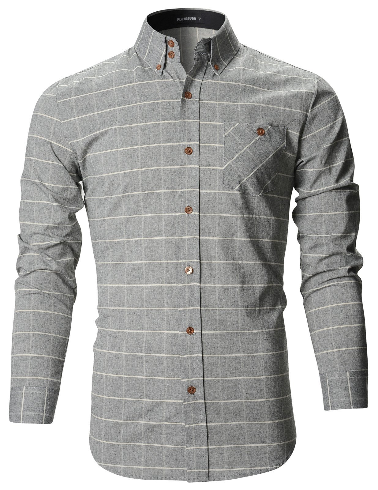 Mens Slim Fit Plaid Checker Casual Cotton Shirts Sh175 Products