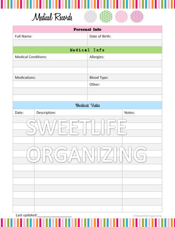 Medical Records Organizer - Home Binder Organizing Printable - accident report template