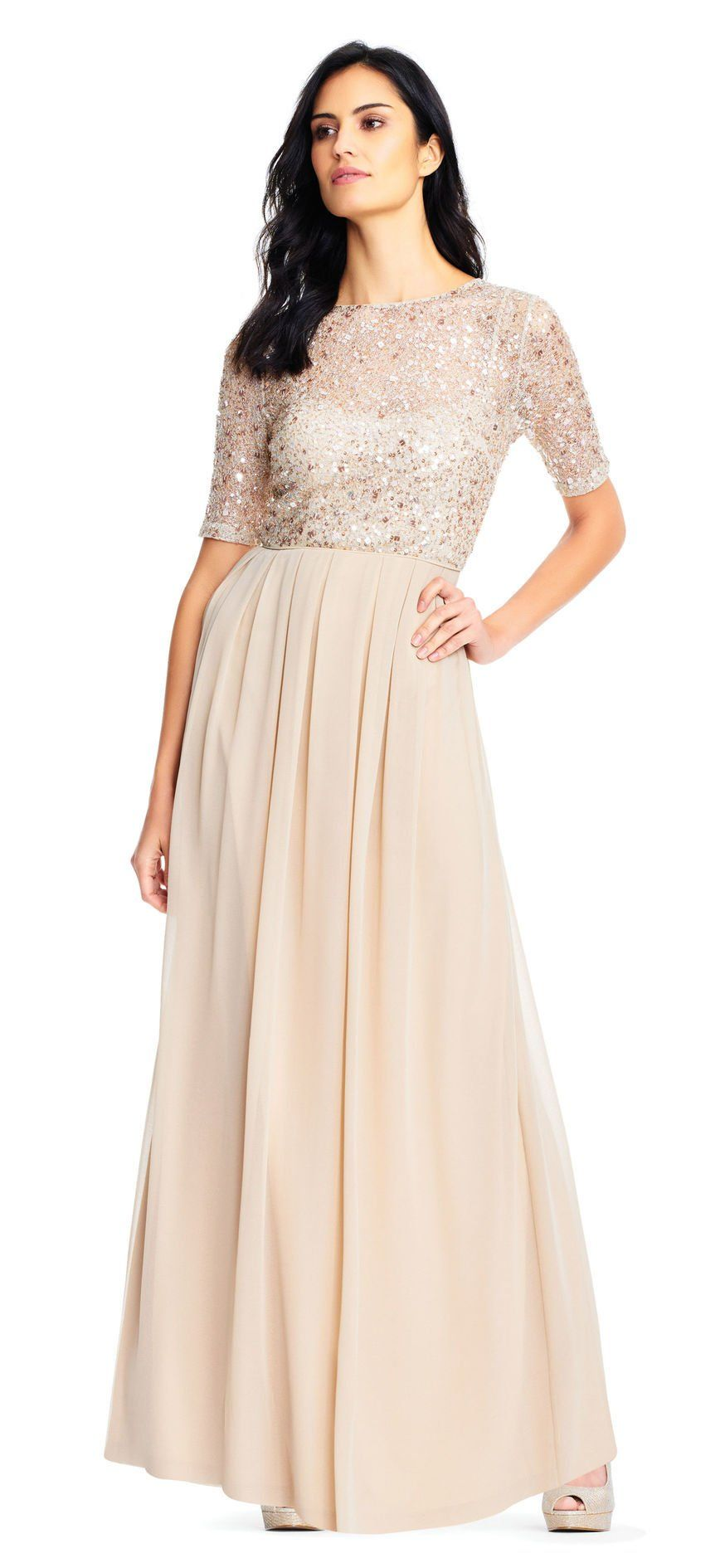 58618688fd31 Short Sleeve Chiffon Dress with Sequin Lace Bodice | aria & brian 11 ...