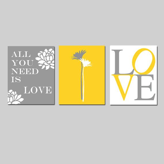 All You Need Is Love - Set of Three Modern Floral Coordinating 8x10 ...