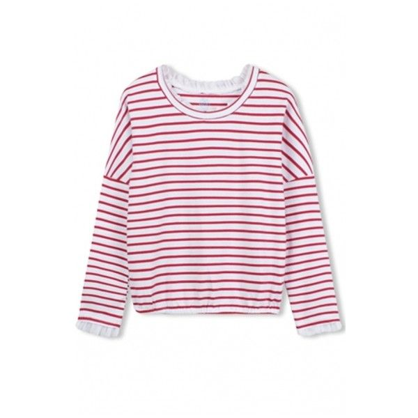 Stripes Long Sleeve Round Neck Ruffle Detail Tee ($14) ❤ liked on Polyvore featuring tops, t-shirts, longsleeve t shirts, ruffle tee, round neck t shirt, striped long sleeve tee and stripe long sleeve tee