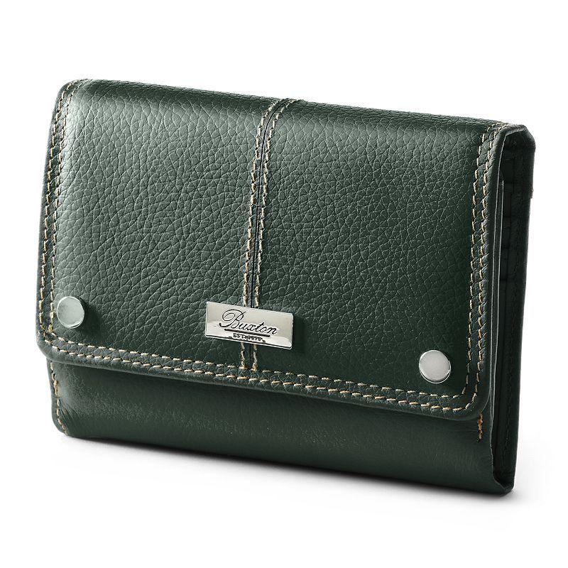 Buxton Westcott Multi-Organizer Fold Over Leather Clutch Wallet, Women's, Green