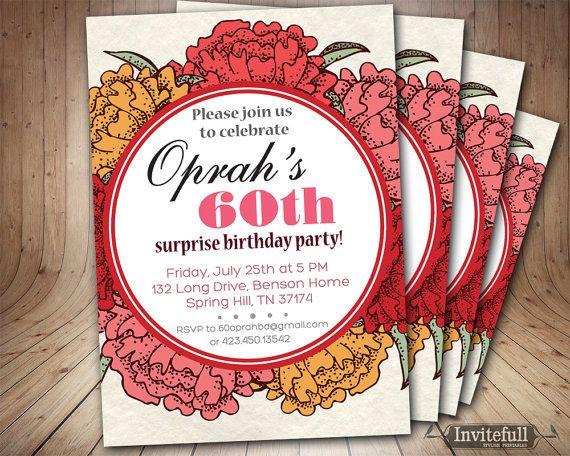 60th Birthday Invitation For Women Adult Birthday By