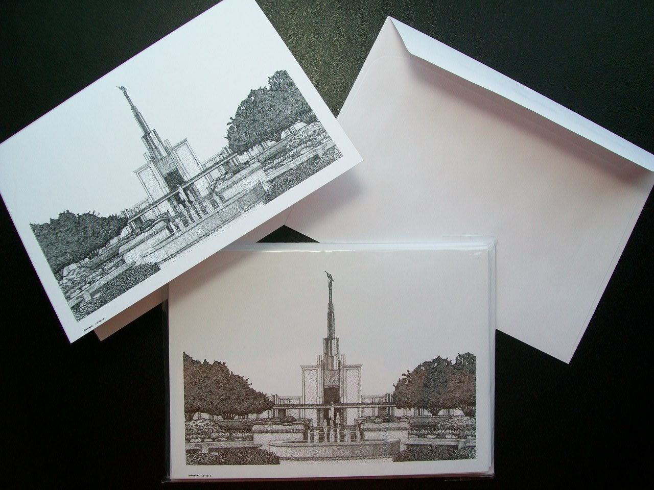 Stipple Art Blank Greeting Cards Featuring Lds Temples Denver