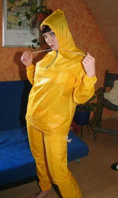Yellow Nylon Rainsuit Wish I Had A Lady To Wear This