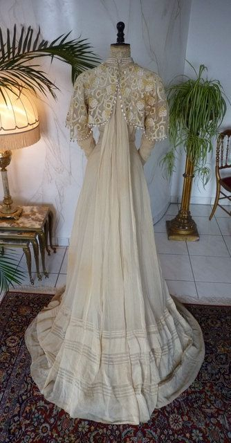Ivory Silk & Lace Afternoon Gown, Edwardian Dress, Antique Gown ...