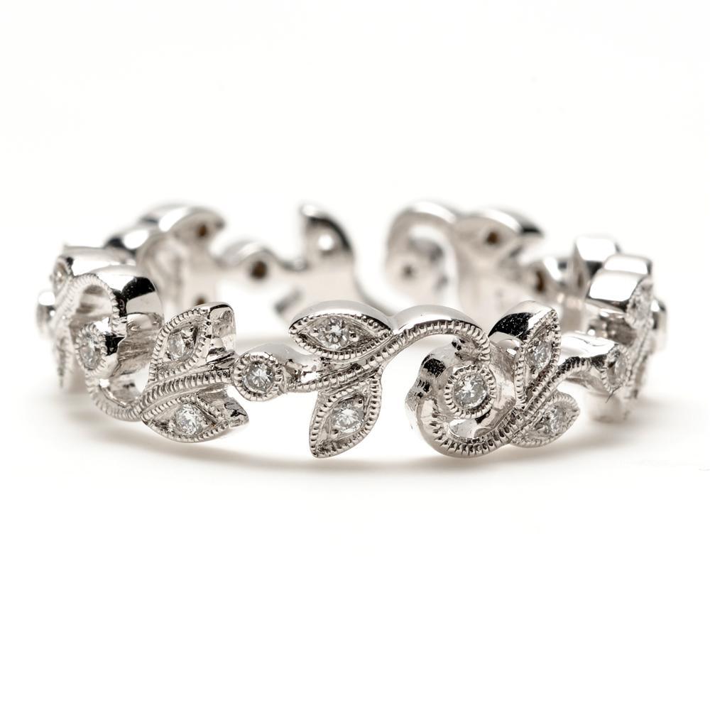 Ivy Scroll Bands: Beverley K Vine White Gold Diamond