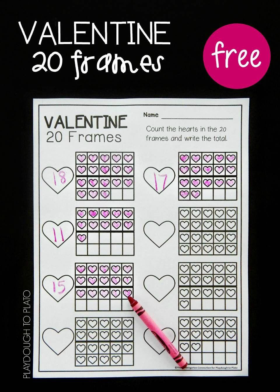 Valentine Twenty Frames | Actividades matemáticas, Aprendizaje y ...
