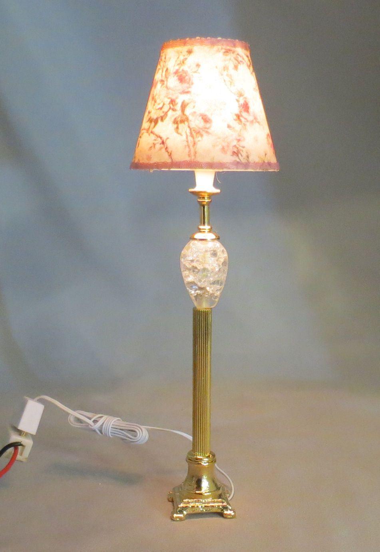 Dollhouse Miniature Gold Crystal Floor Lamp Lighted Electric 12v 1