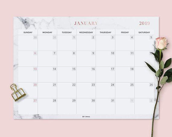 Wall Calendar 2019 Desk Calendar 2019 Marble Rose Gold Calendar