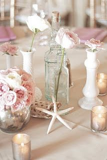 Gorgeous seaside/beach wedding table decorations.