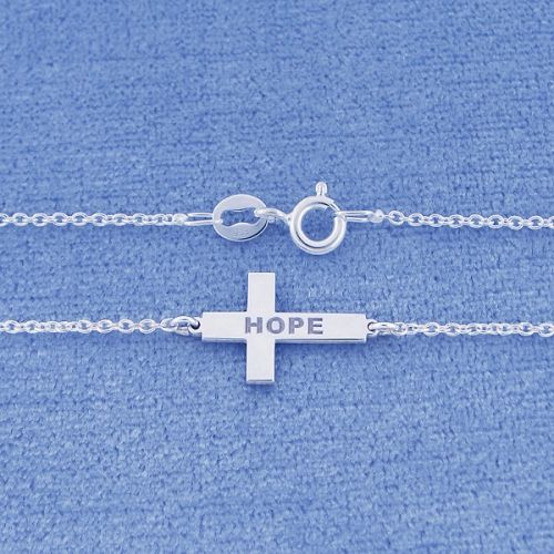 This classic Sterling Silver Engraved Name Sideway Cross Charm Necklace can be engraved with any name or word of your choice. The Personalized Silver Cross Pendant is made out of fine quality Sterling Silver cut out by latest technology laser machine with top quality guaranteed and fixing on a Sterling Silver Rollo Chain. All the letters are capitalized.