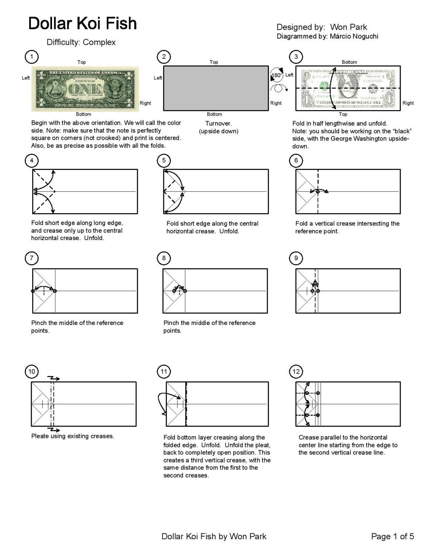 small resolution of koi fish diagram 1 of 5 money origami dollar bill art