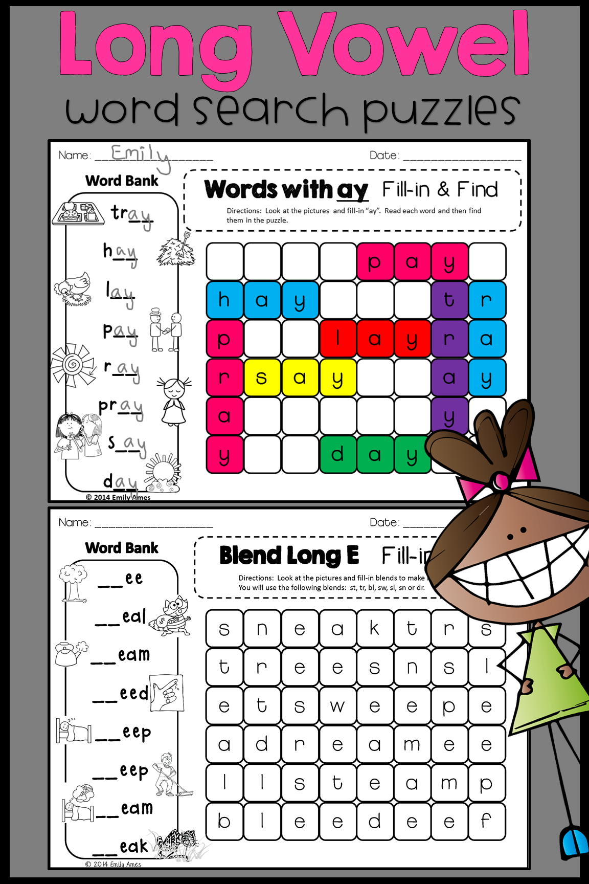 Long Vowels Word Search Fill In And Find Phonics Puzzles