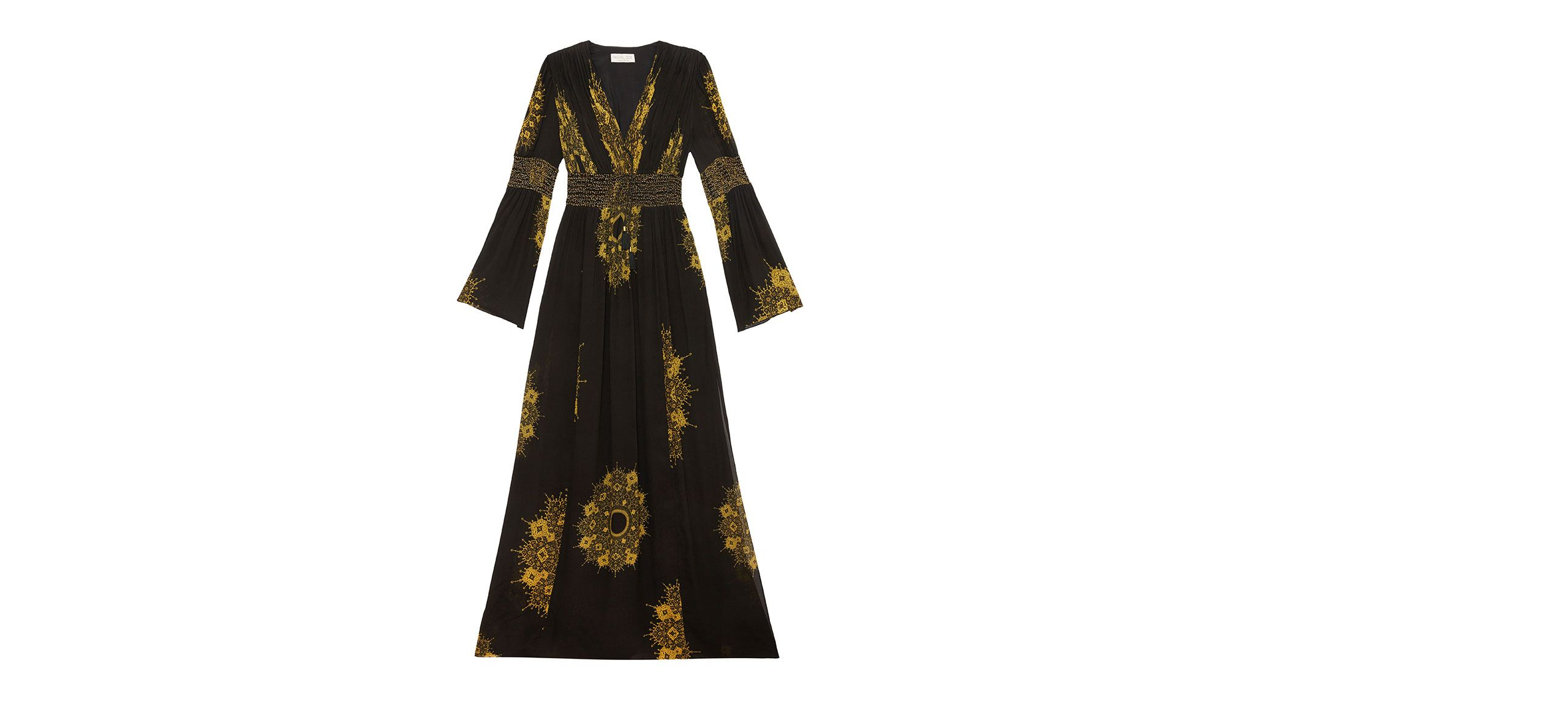 With a black and gold motif, bellsleeves and hand-beaded accents, the Blair maxi dress exudes elegance effortlessly.