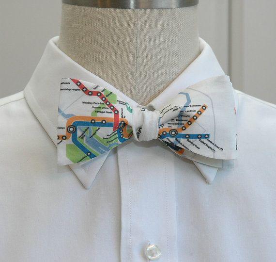 Mens Bow Tie in Washington DC Metro map design selftie