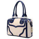 LACOLE Beige and Blue Accents Top Double Handle Doctor Style Office Tote Bowler Satchel Handbag Purse Convertible Shoulder Bag