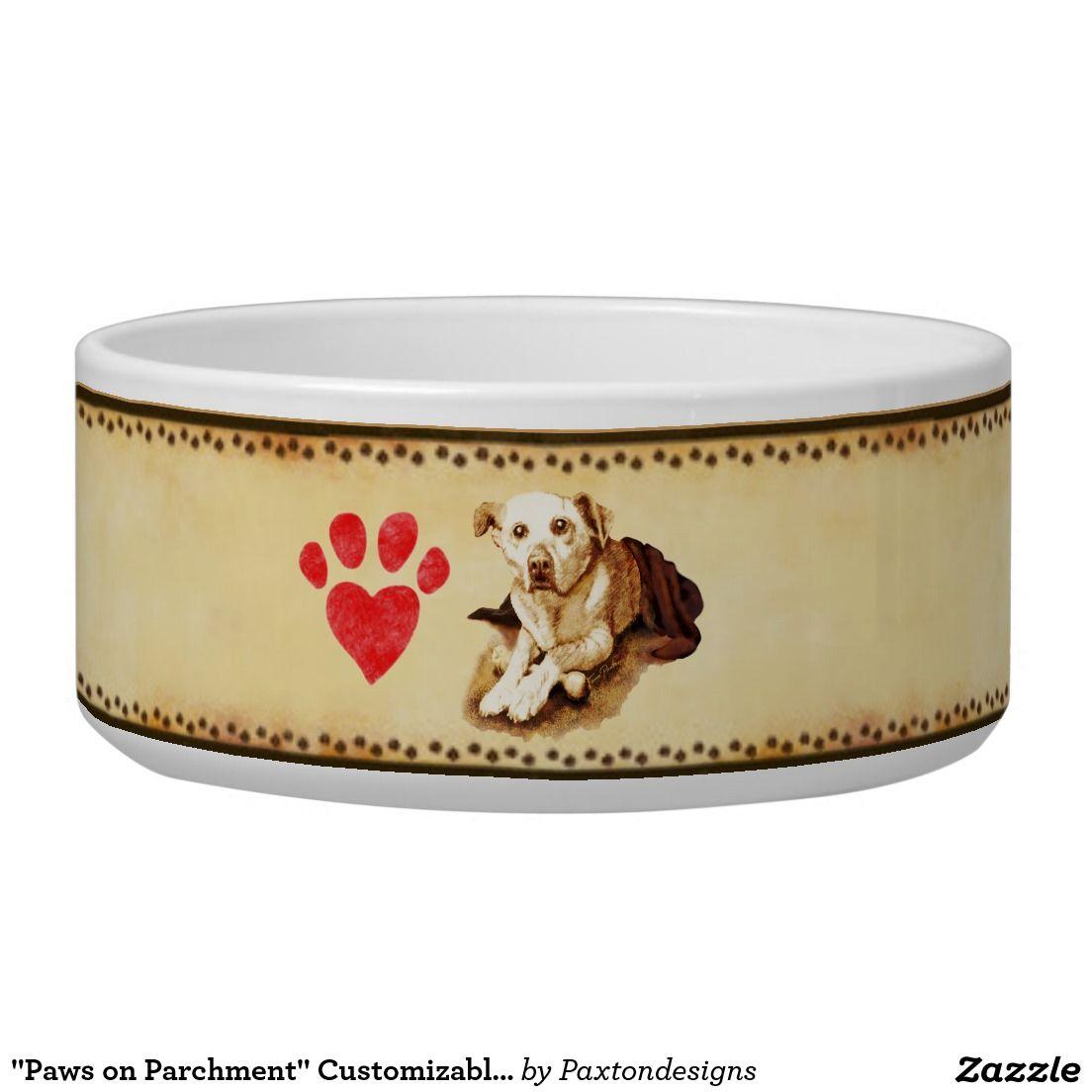 """Paws on Parchment"" Customizable Ceramic Pet Bowl"