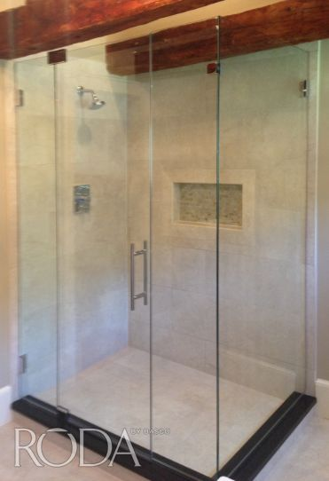 Love The Beams And They Look Great With Our Roda By Basco Dresden Door Panel Enclosure Featuring Our New G Shower Enclosure Custom Shower Doors Shower Doors