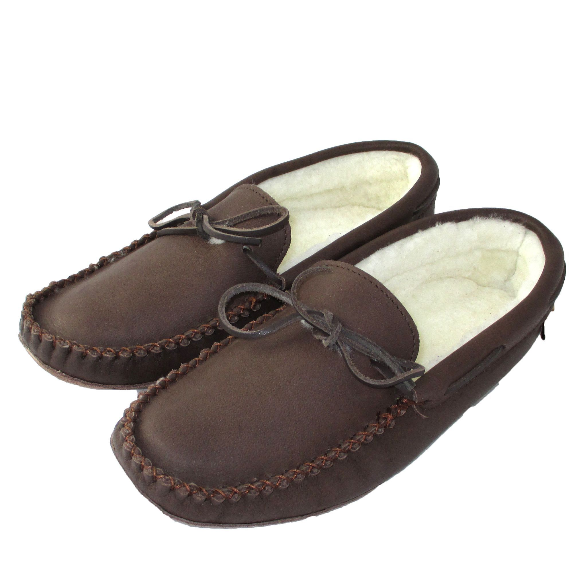 a2a1bfd17a1 Men s Sheepskin Lined Dark Brown Moccasin Slippers