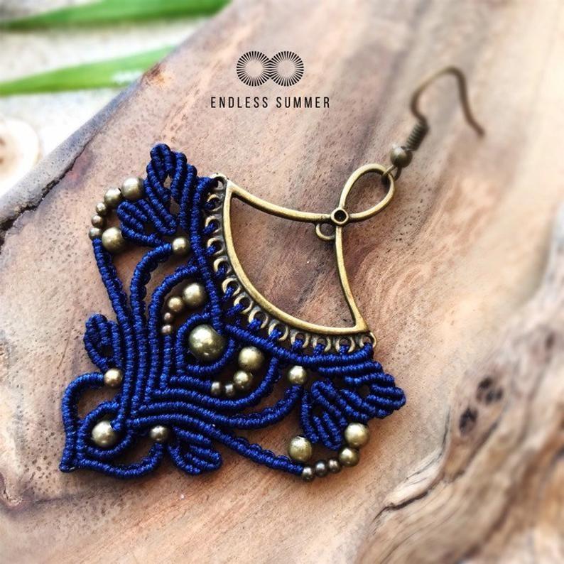 Boho style macrame earrings