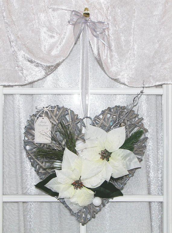 t rdeko t rschmuck f r weihnachten in silber wei mit. Black Bedroom Furniture Sets. Home Design Ideas