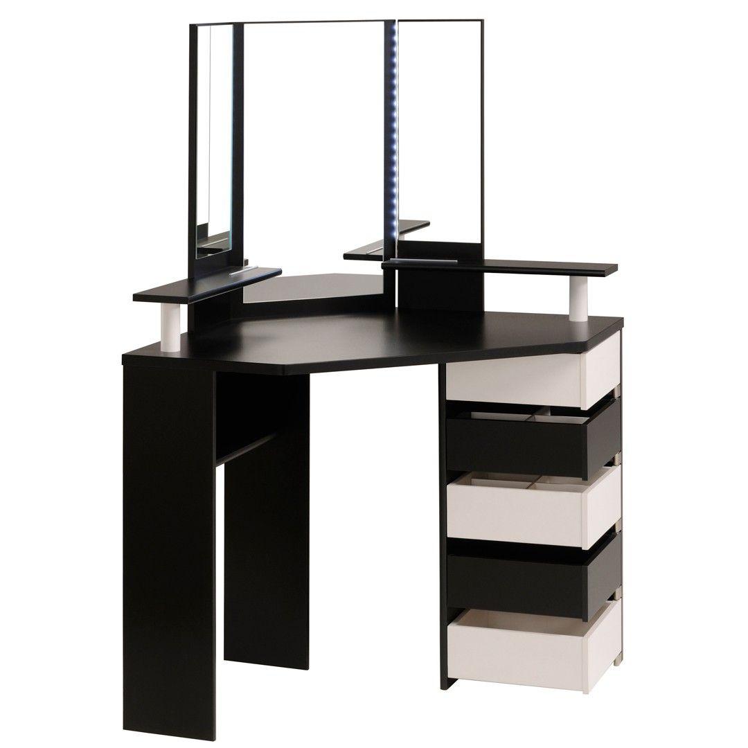 Coiffeuse design d 39 angle coloris blanc et noir rivage angles et design - Commode noire pas cher ...