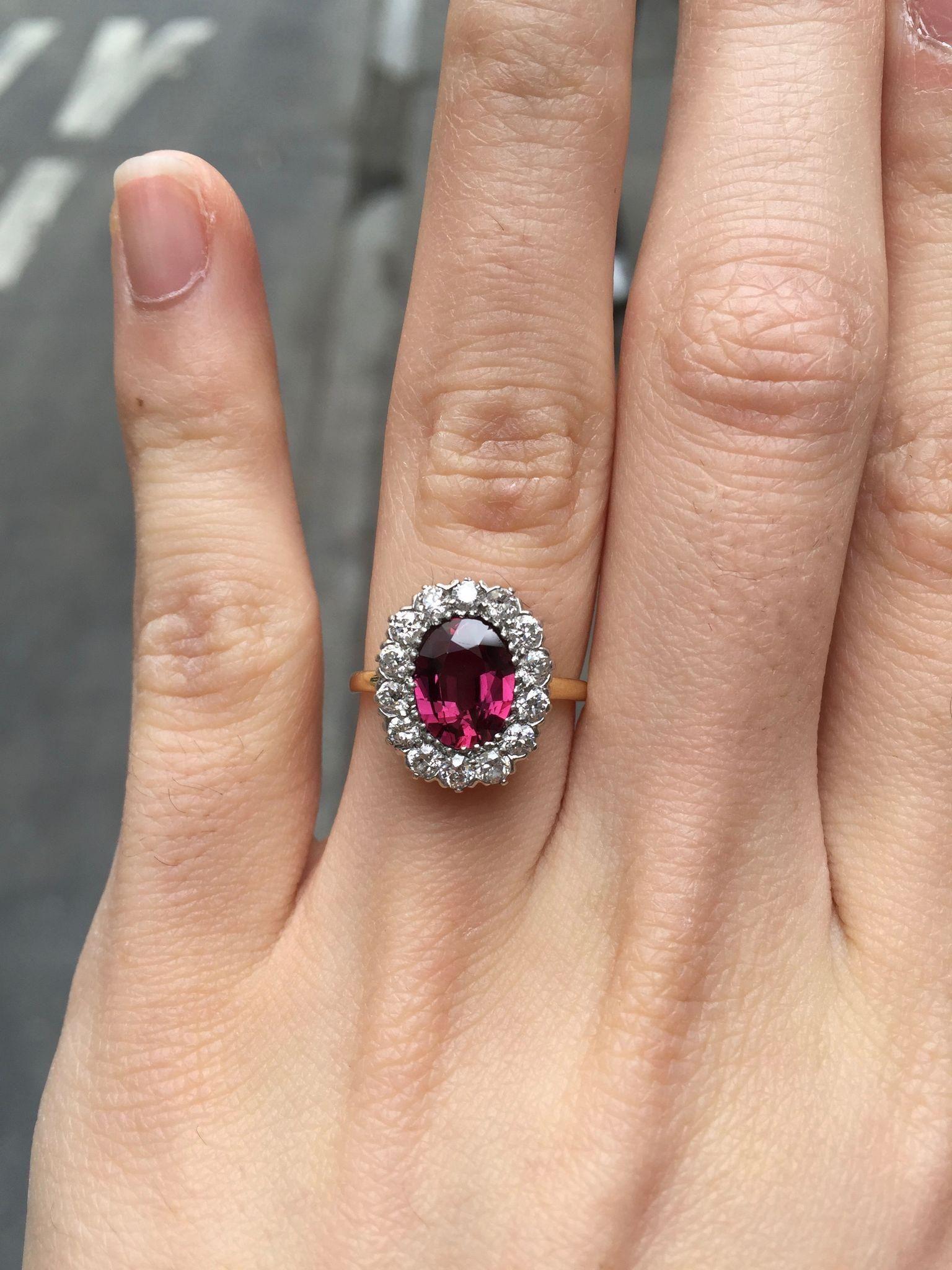 3a16be6ae Vintage Tiffany & Co Ruby Diamond Halo Alternative Engagement 18K Gold Ring