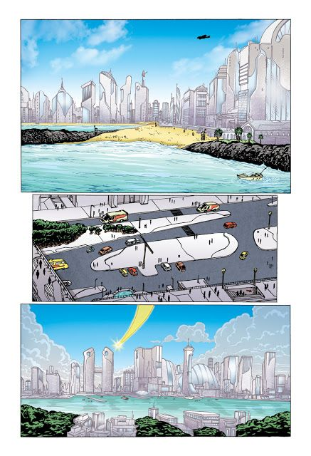 Página da HQ Os Invictos - O Despertar 02 lançada online em 2014 com arte de Óqui e cores de Alzir Alves