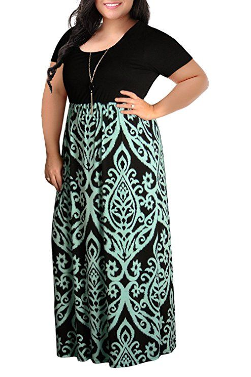 cca137aec98 Nemidor Women s Chevron Print Summer Short Sleeve Plus Size Casual Maxi  Dress (22W