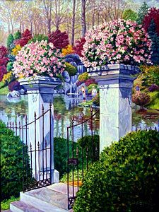 Garden Gates Painting - Peace In The Garden by John Lautermilch