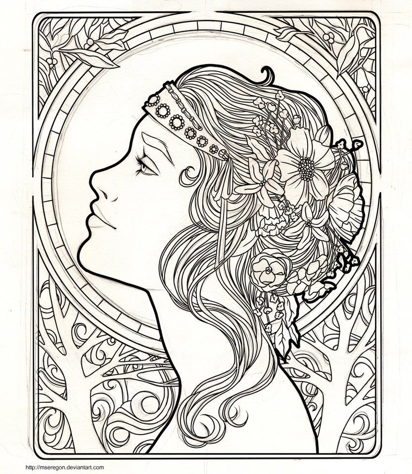 Art nouveau tinta pinterest art coloriage et art - Coloriage art ...