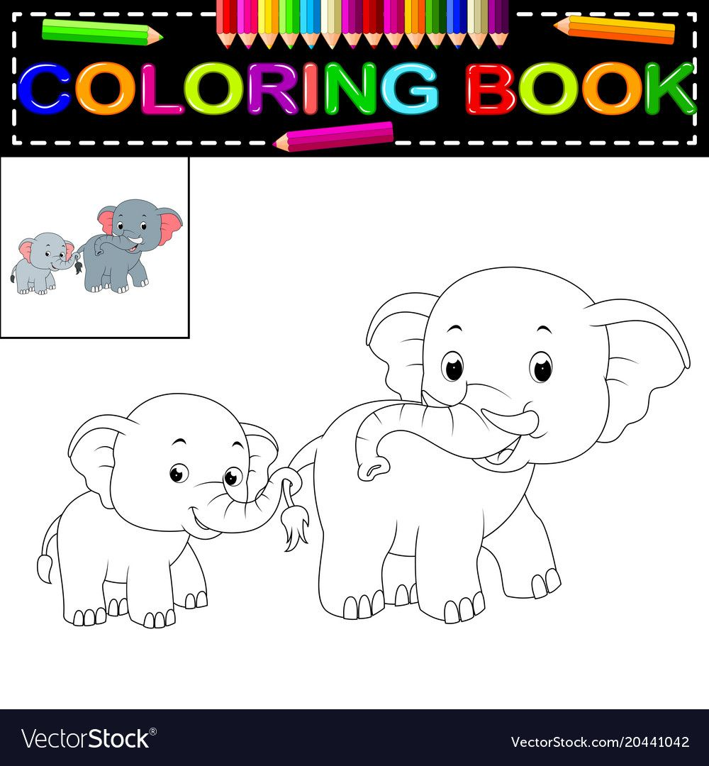 Elephant Coloring Book Vector Image On Vectorstock Coloring Books Elephant Color
