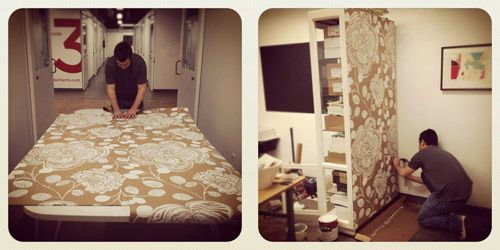 In The Studio A Makeover Mint Fabric Room Dividers Room Divider Walls Room Divider