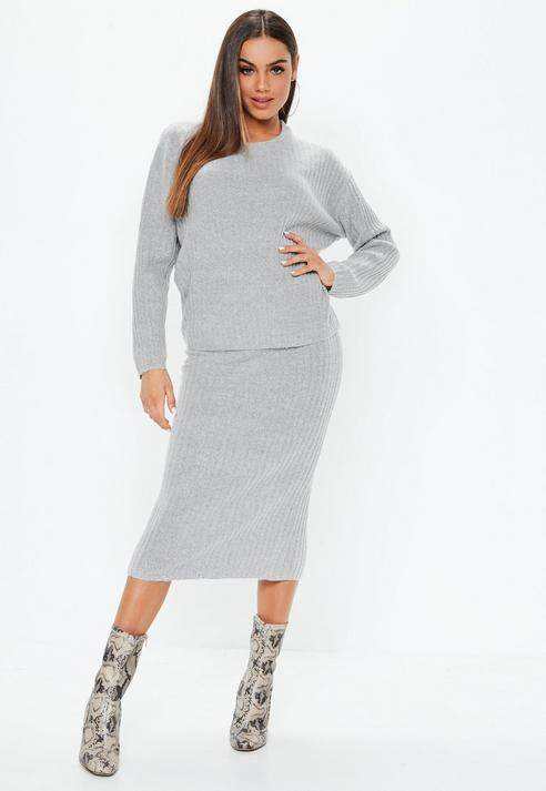 af907a4f2118 Gray 2 Piece Ribbed Knitted Co Ord Set | Products | Co ord sets, Rib ...