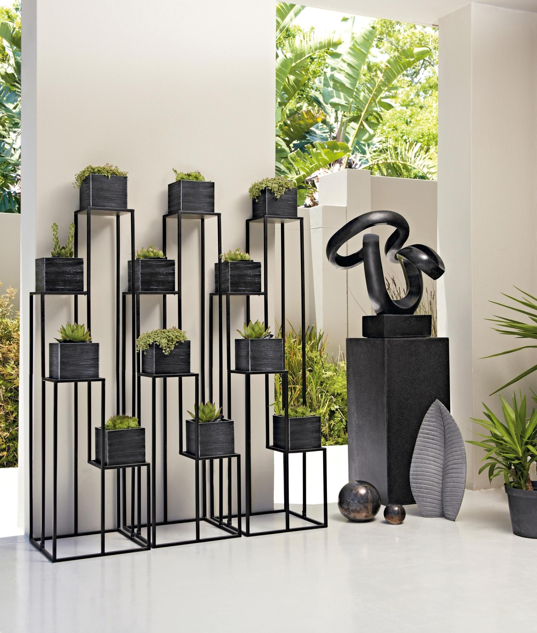 Buy Black Metal Plant Stand from the Next UK online shop