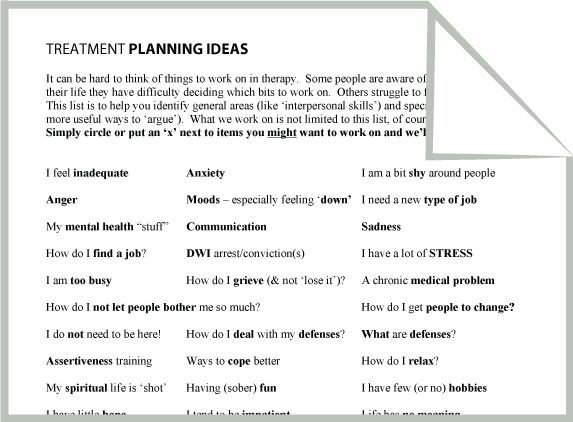 Mental Health Treatment Planning Ideas Worksheet  Google Search