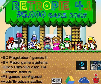 RETROPIE 95 000roms - 90 PS1 games - 32GB MicroSd file