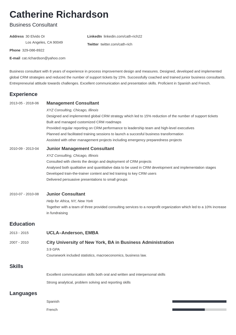 Consultant Resume Example Template Minimo In 2020 Resume Examples Job Resume Examples Basic Resume Examples