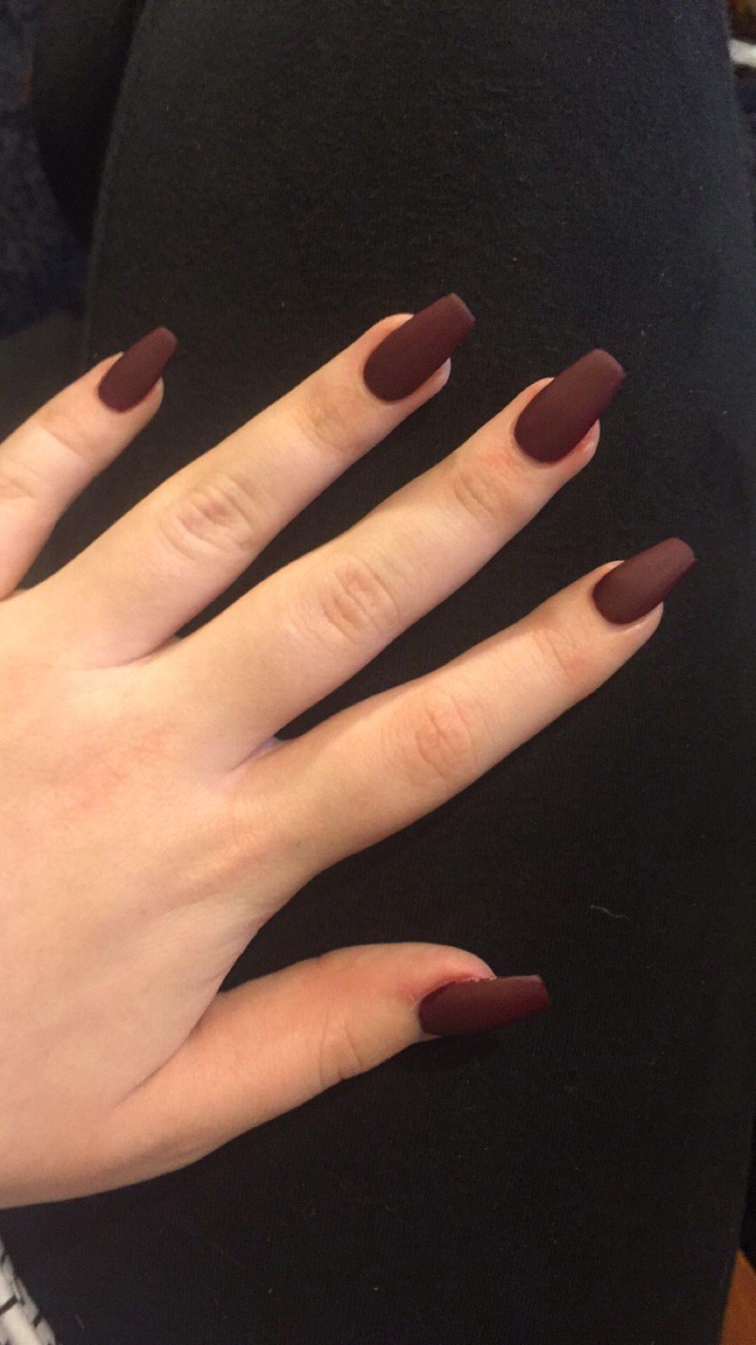 Burgundy matte coffins | Nails | Pinterest | Arte de uñas, Uñas ...