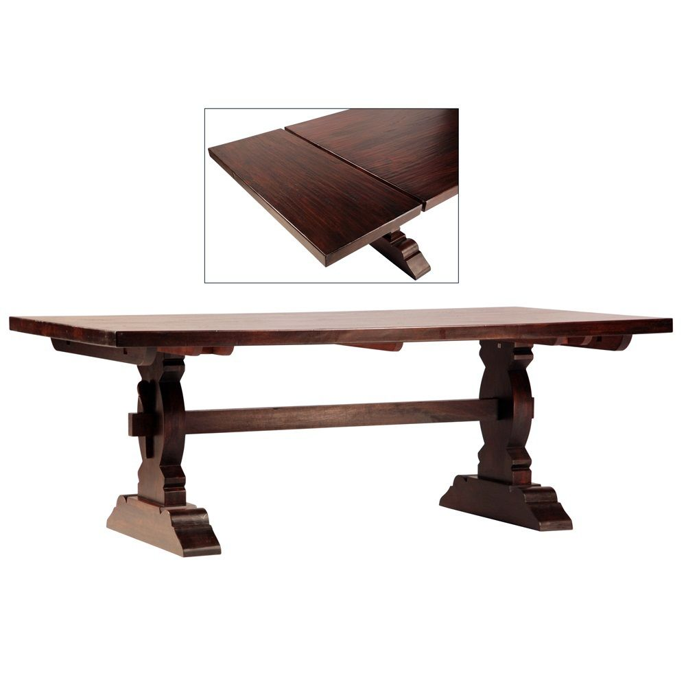 Shop Cordoba Dark Wood Trestle Extension Dining Room Table For The Tabletop  Is Expandable, With Two 18 Inch Leaves That Extend The Table To A Maximum  Length ...