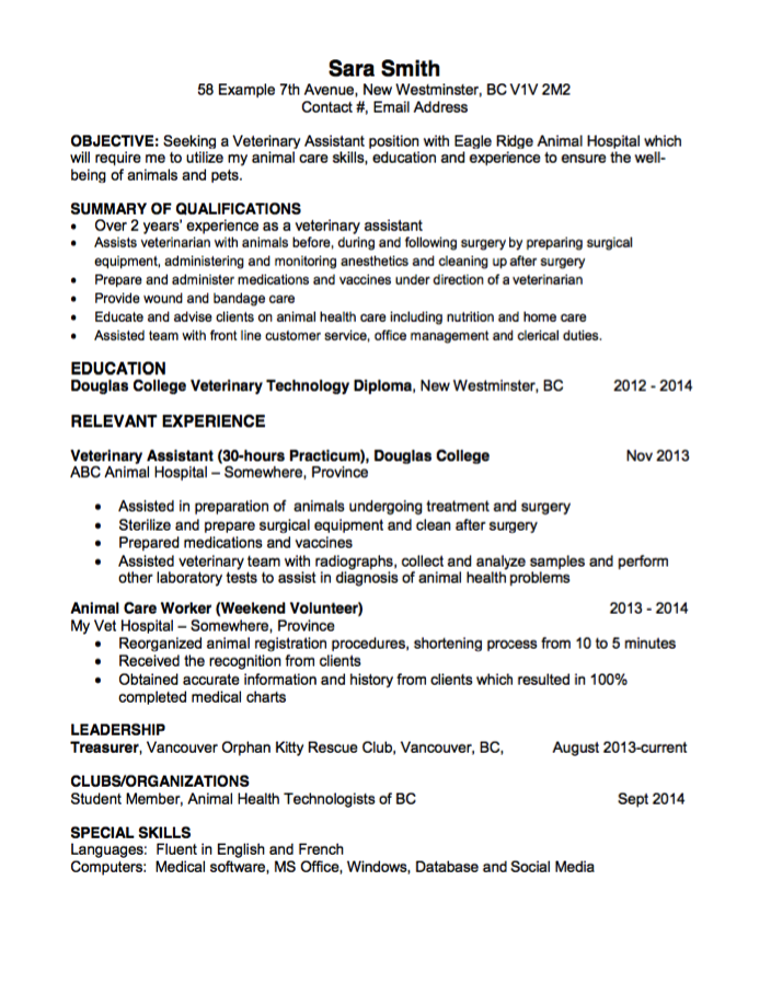 Veterinary Resume Animal Care Worker Resumes  Httpexampleresumecvanimal