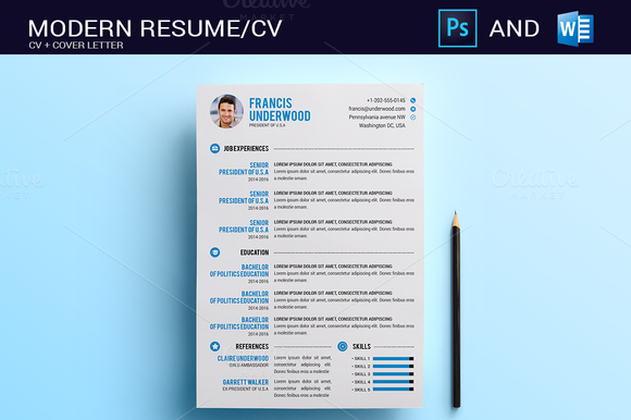 ResumeCv Photoshop  Word  Creative Creativemarket And Template