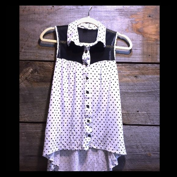 Polka dot tank top Sheer panel collared black and white tank top that buttons up looks really cute  belted Forever 21 Tops Tank Tops