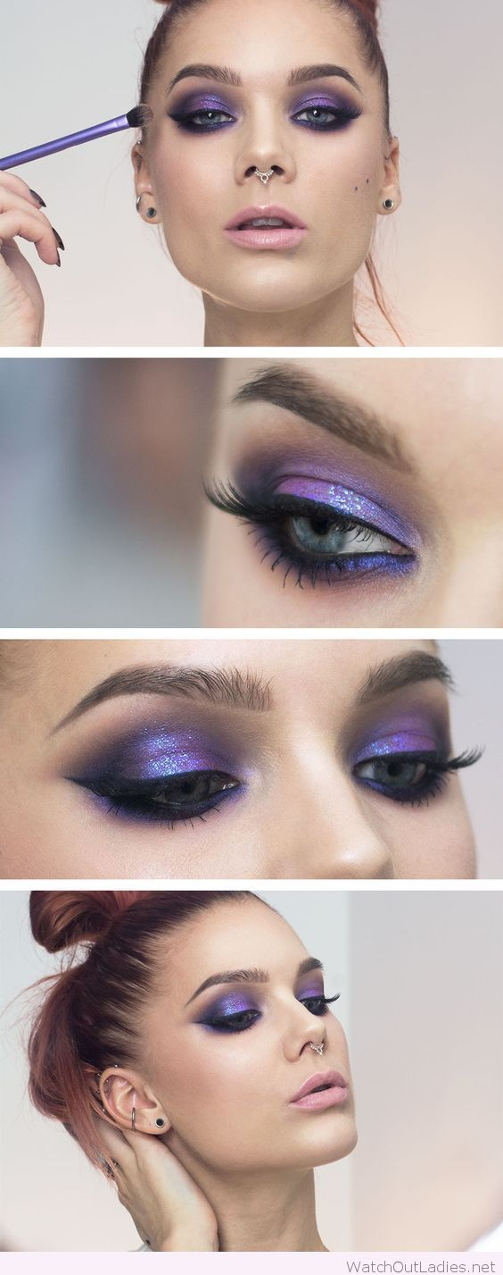 Purple and black eye makeup with pink lipstick