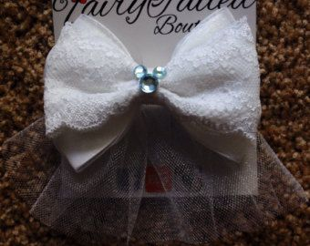 Something Blue Disney Bride Inspired Hair Bow with Veil