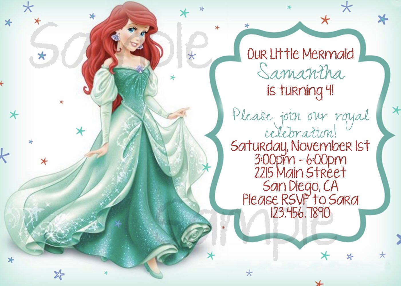 Ariel Invitation Birthday Party Invitation The Little