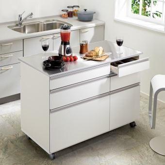 1台で3役をこなすキッチン収納 ステンレス天板アイランドカウンター 幅